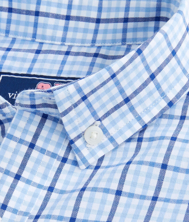 Boys Windowpane Check Performance Whale Shirt
