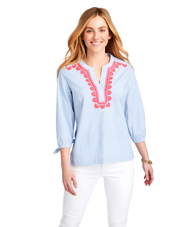 Striped Pop Embroidered Savannah Popover Top