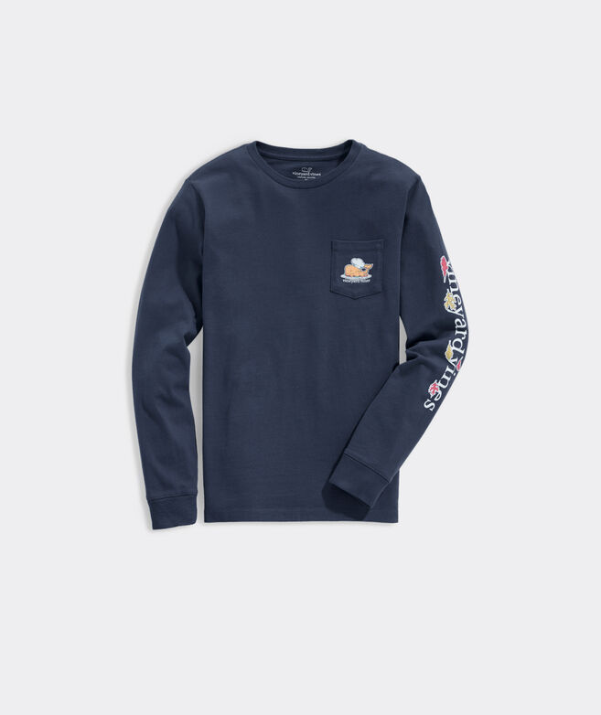 Kids' 2020 Thanksgiving Whale Long-Sleeve Pocket Tee