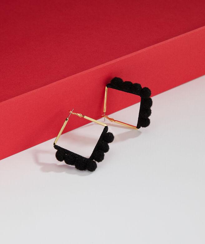 Square Pom Pom Hoop Earrings