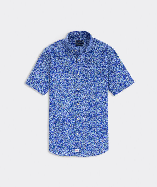 Slim Fit Floral Short-Sleeve On-The-Go Shirt In Performance Nylon