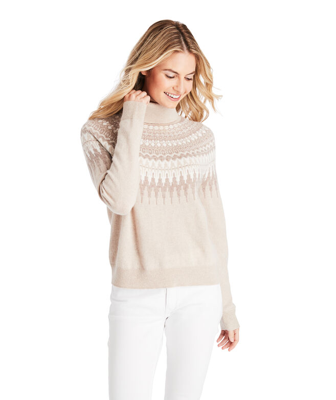 Lurex Fair Isle Turtleneck Cashmere Sweater