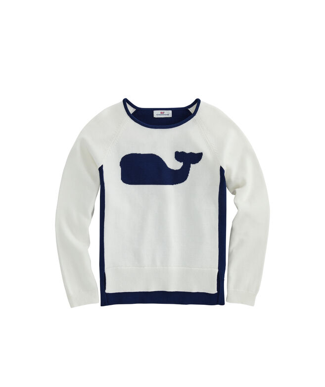 Girls Cotton Raglan Relaxed Whale Intarsia Crewneck Sweater