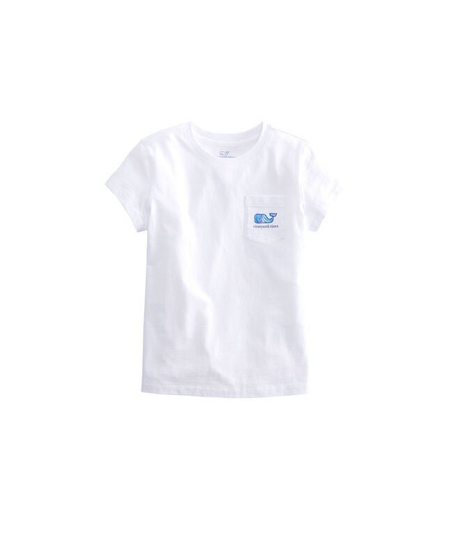 Girls Plumeria Whale Fill Pocket Tee