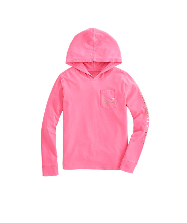 Girls Foil Whale Hoodie Long-Sleeve Pocket Tee