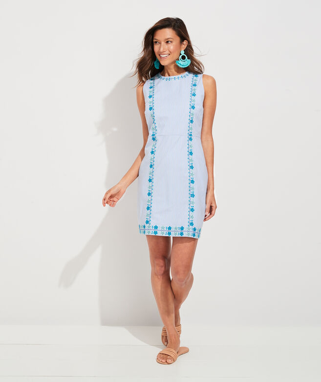 Pop Embroidered Shift Dress