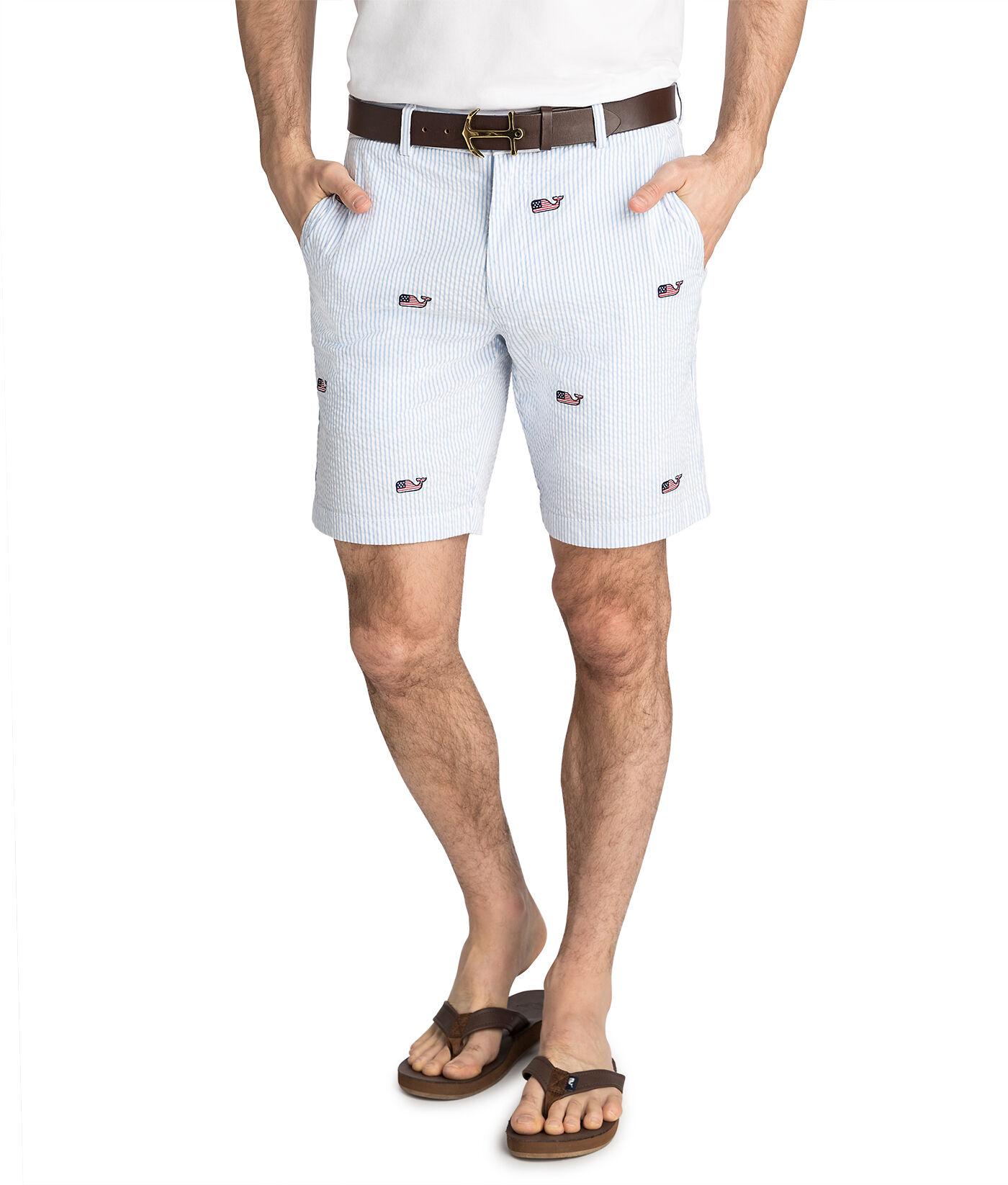 9 Inch Flag Whale Embroidered Seersucker Breaker Shorts