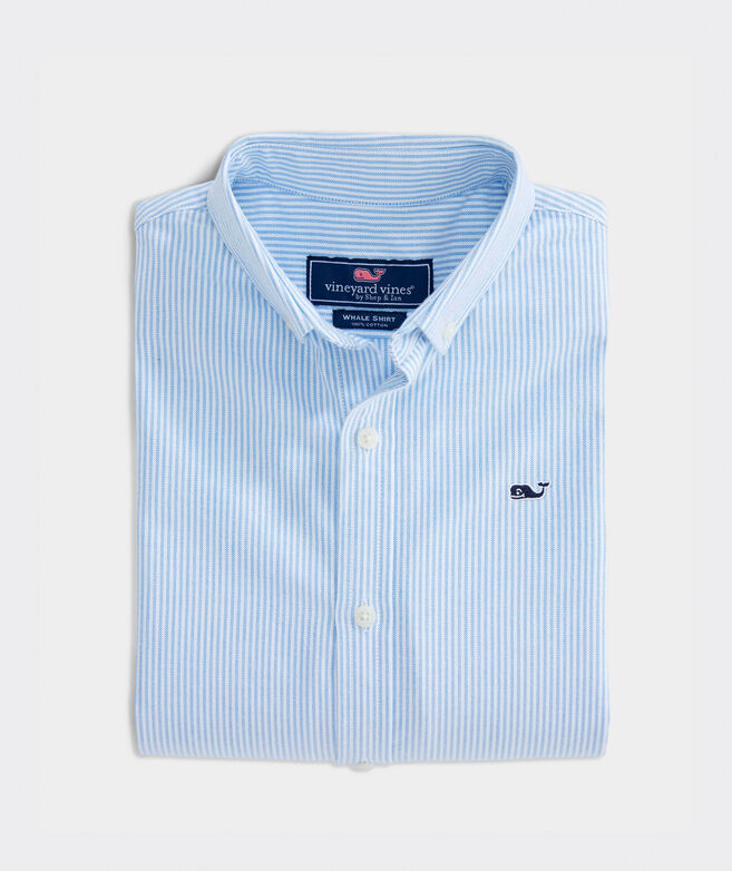 Kids' Fine Line Stripe Oxford Whale Shirt