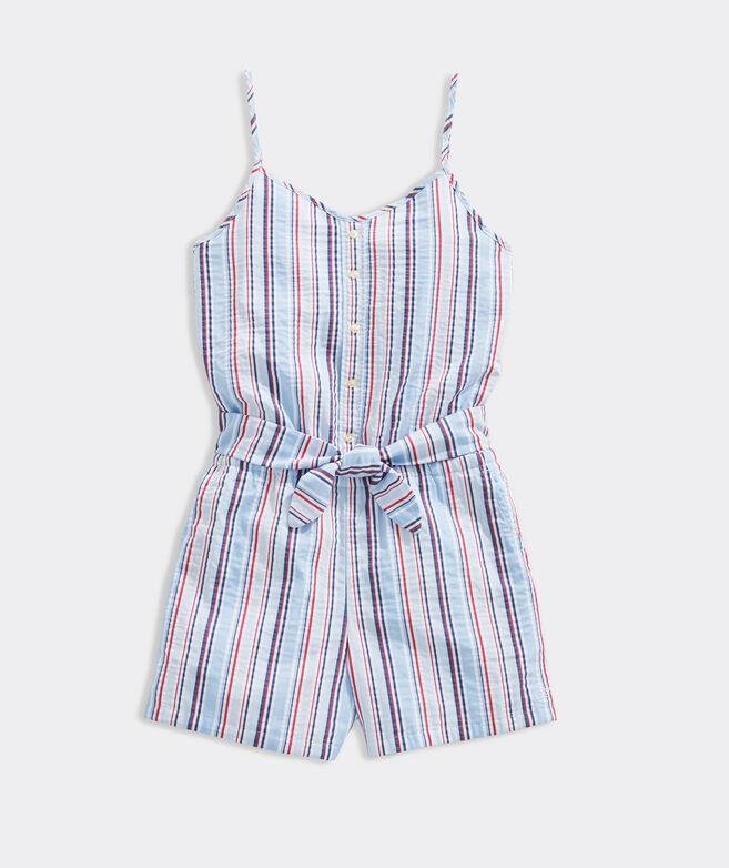 Girls' Summerland Stripe Tie Waist Romper