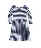Girls Long-Sleeve Striped Boatneck Knit Dress