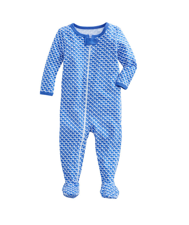 All Over Whale Zip Footed Onesie