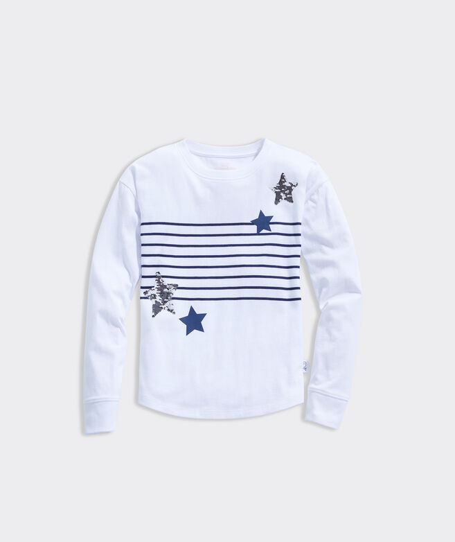 Girls' Striped Flip Sequins Star Long-Sleeve Tee