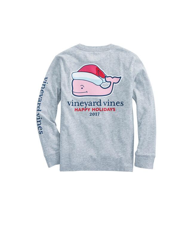 Boys Long Sleeve Santa Whale Pocket T-Shirt