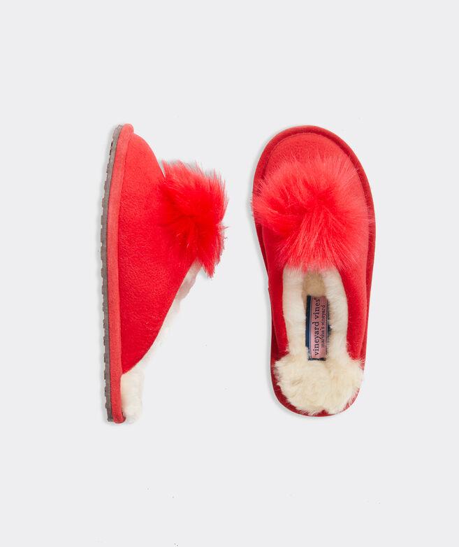 Pom Slide Shearling Slippers