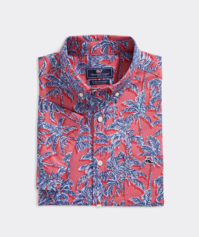 Stretch Cotton Short-Sleeve Bahia Palm Shirt