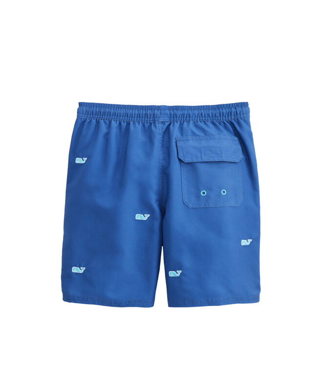 Boys Whale Embroidered Fine Stripe Chappy Trunks