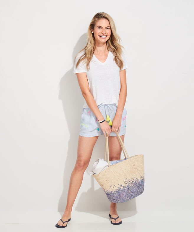 Linen Bahamas Embroidered Pull-On Shorts