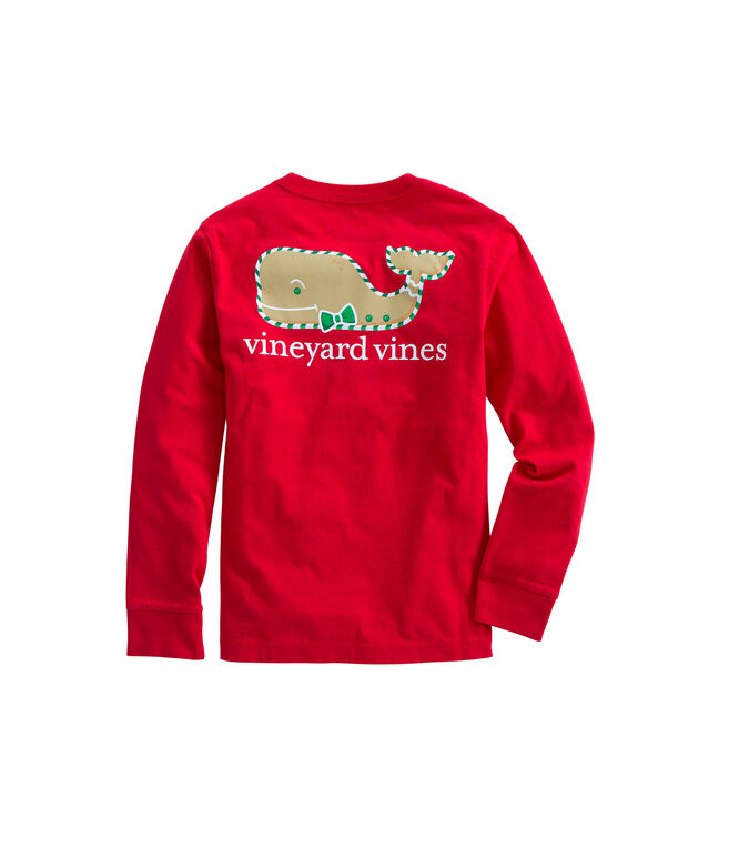 Boys Long-Sleeve Gingerbread Whale Pocket T-Shirt