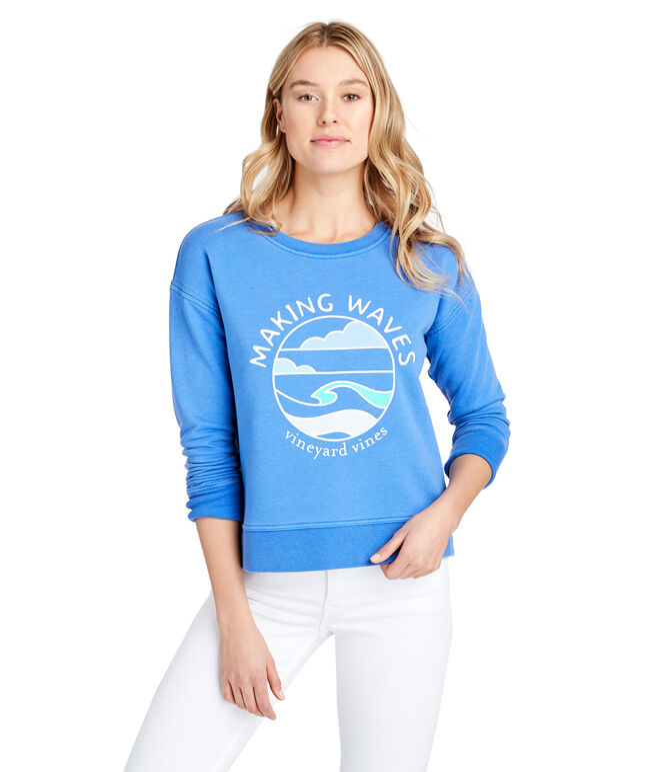 Long-Sleeve Garment Dyed Making Waves Sweatshirt
