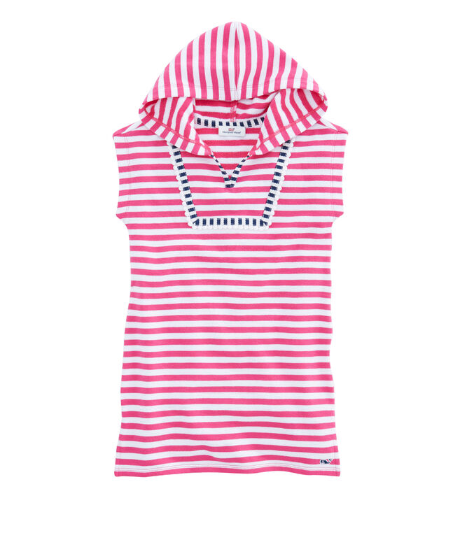 Girls Short-Sleeve Striped Terry Cover-Up