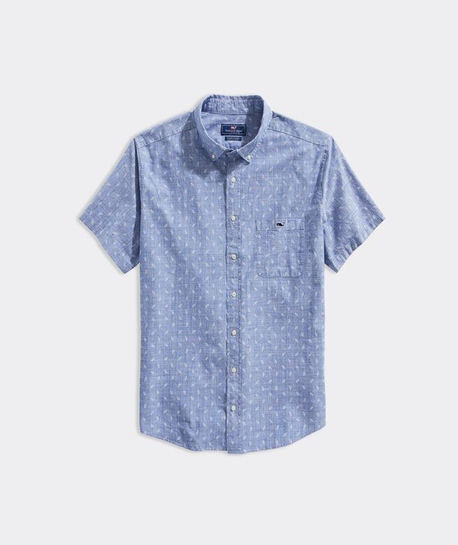 Big & Tall Stretch Cotton Micro Palm Chambray Short-Sleeve Shirt