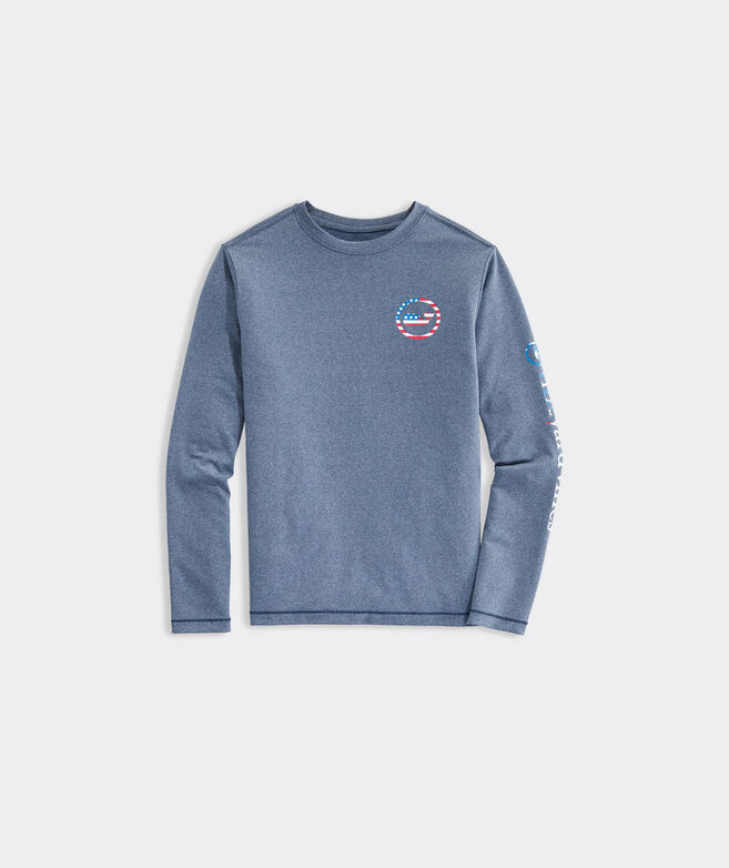 Boys' USA Whale Dot Long-Sleeve Performance Tee