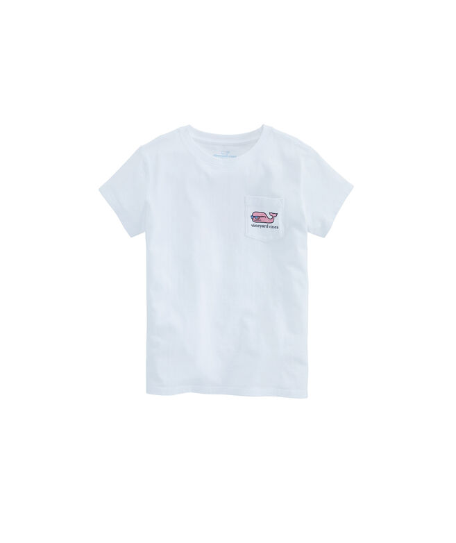 Girls USA Party Whale Pocket Tee