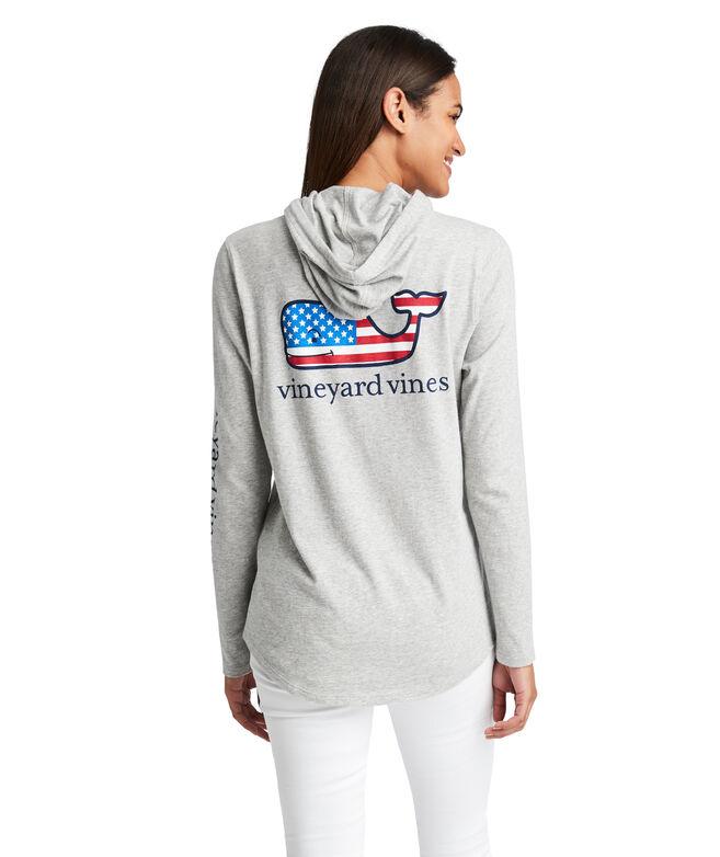 Long-Sleeve Flag Whale Slub Hoodie