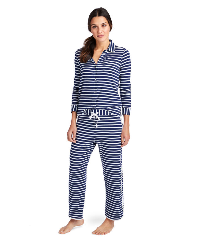 Classic Stripe Button Front Knit Lounge Set