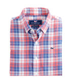 Boys Cross Sound Plaid Cotton/Linen Whale Shirt