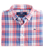 Boys Cross Sound Plaid Cotton/Linen Whale Shirt