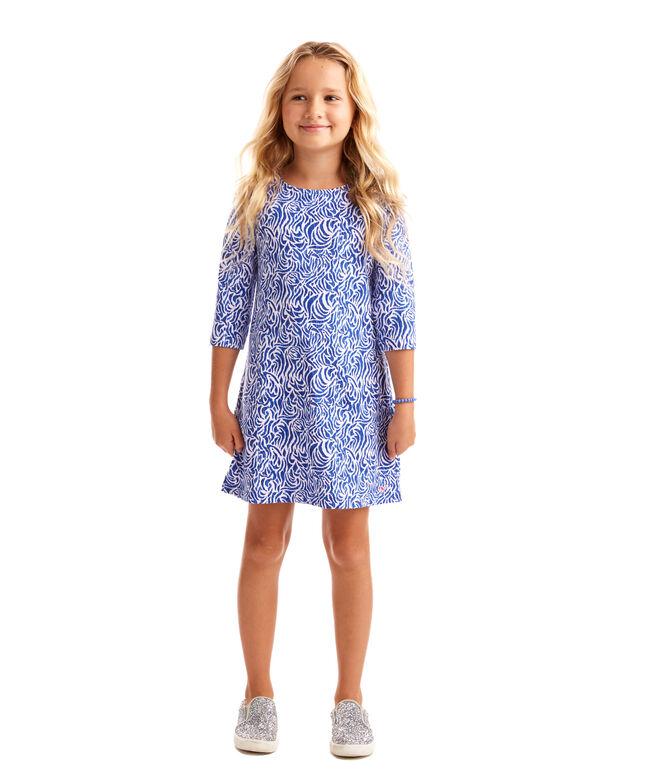 Girls Zebra Print 3/4-Sleeve Knit Dress