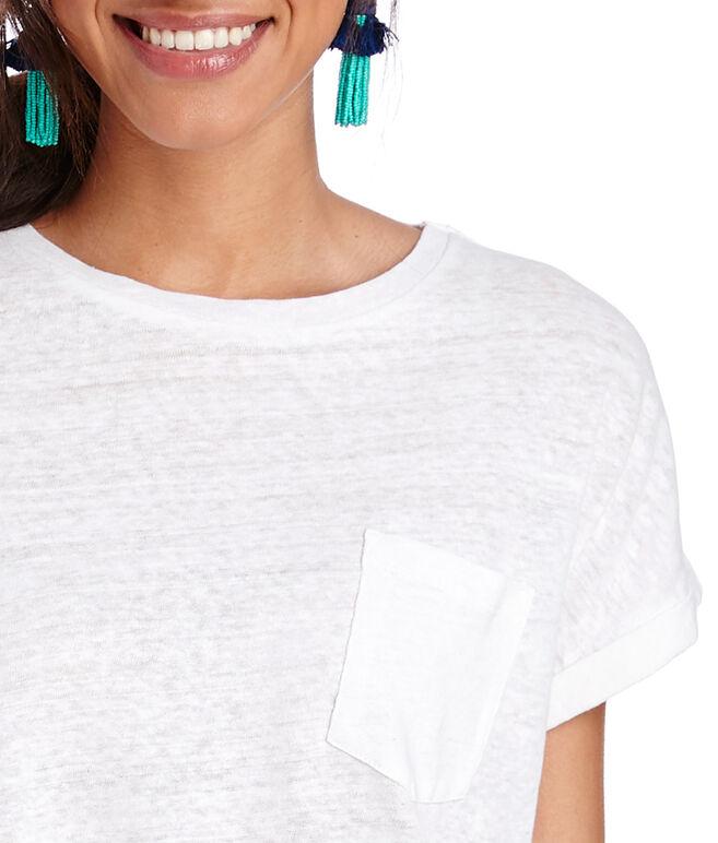 Garment Dyed Linen Blend Roll Sleeve Tee