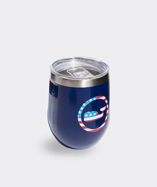 Americana Whale Dot Corkcicle Stemless