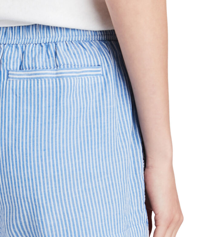 Striped Embroidered Pull-On Shorts