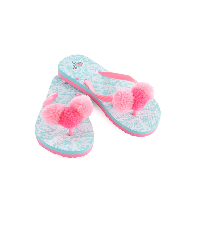 Girls Sea Life Pom Pom Flip Flops