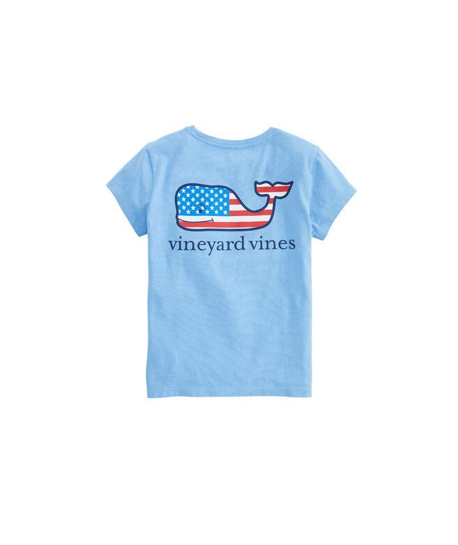 Girls Flag Whale Pocket Tee
