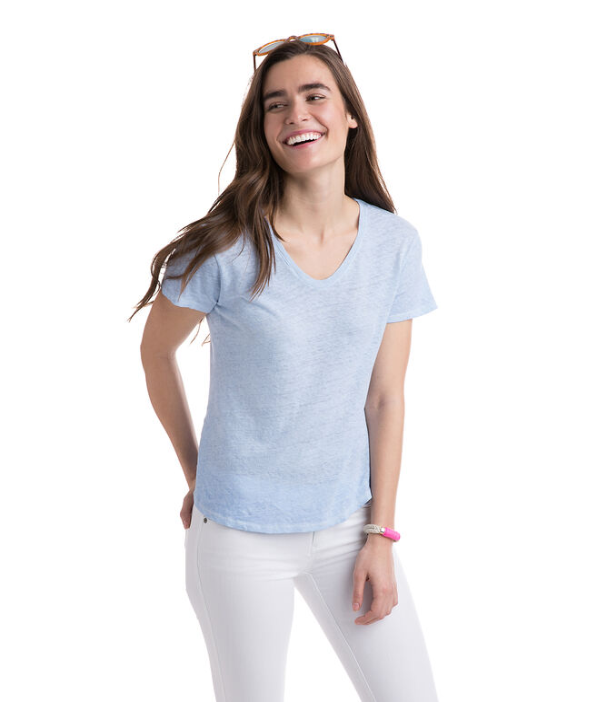 Garment Dye Linen Blend V-Neck Tee