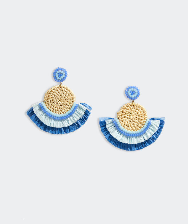 Basket Weave Fringe Raffia Earrings