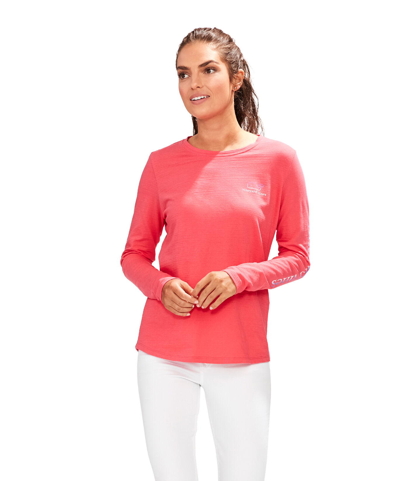 Vineyard Vines Women/'s S//S Crystal Blue V-Neck Slub T-Shirt