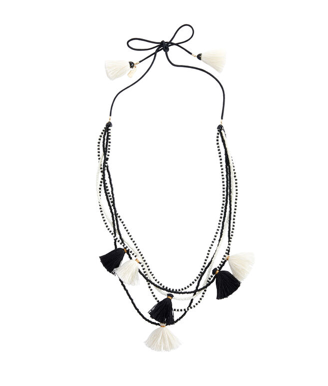 Black & White Beaded Tassel Necklace