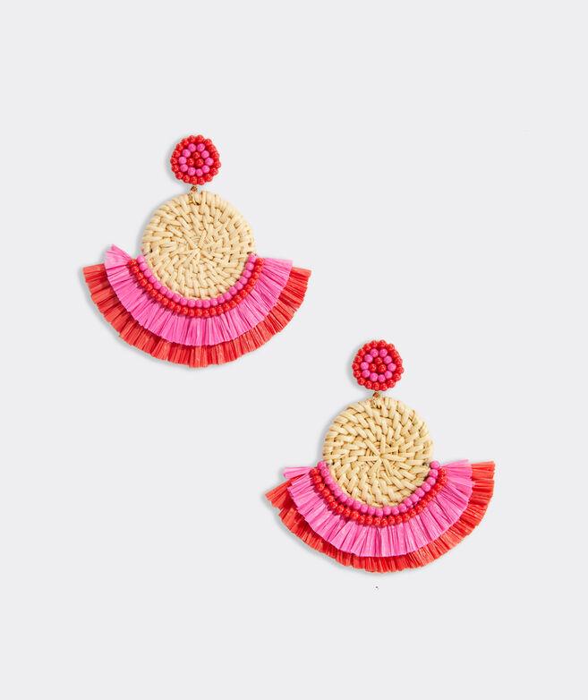 Basket Weave Fringe Raffia Earrings