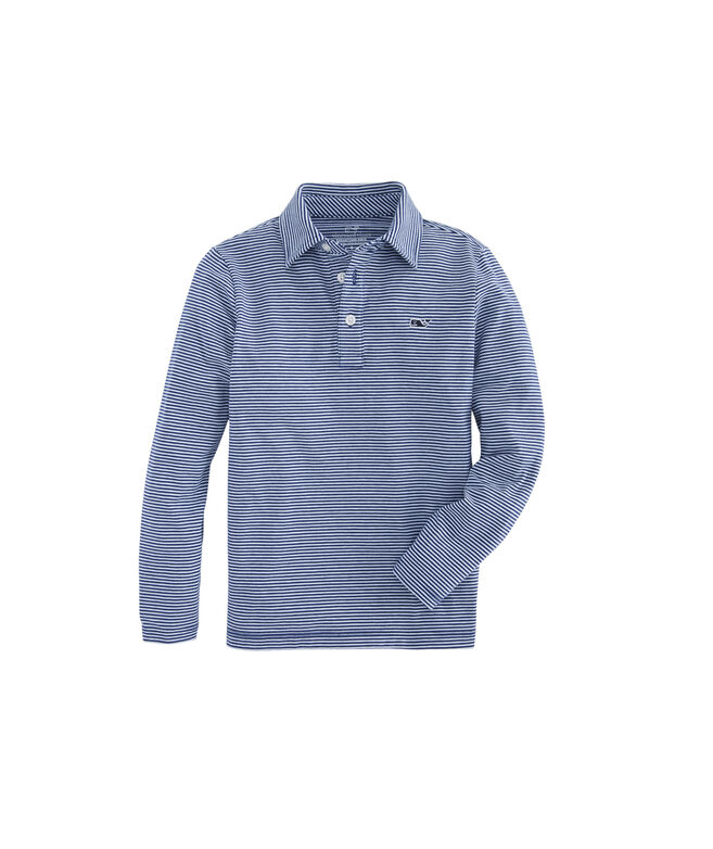Boys Long-Sleeve Color to White Striped Edgartown Polo