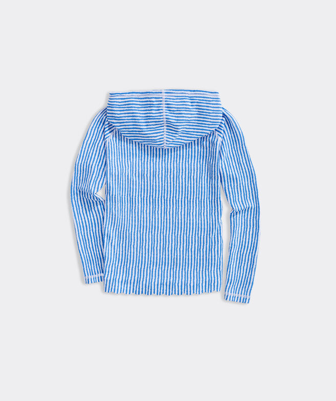 Girls' Bimini Painted Striped Scallop Hoodie Rashguard