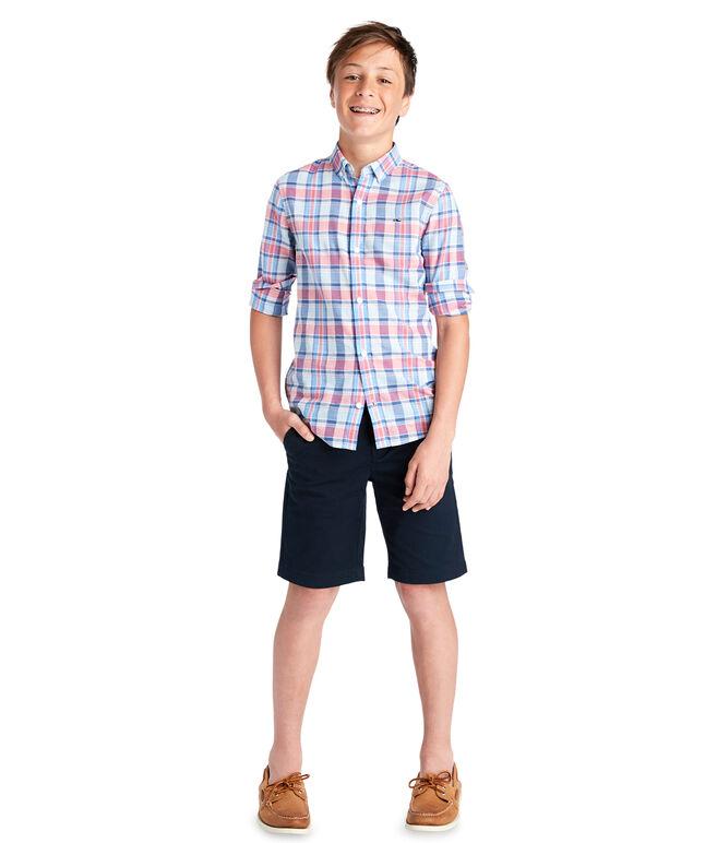 Boys Topsail Plaid Whale Shirt