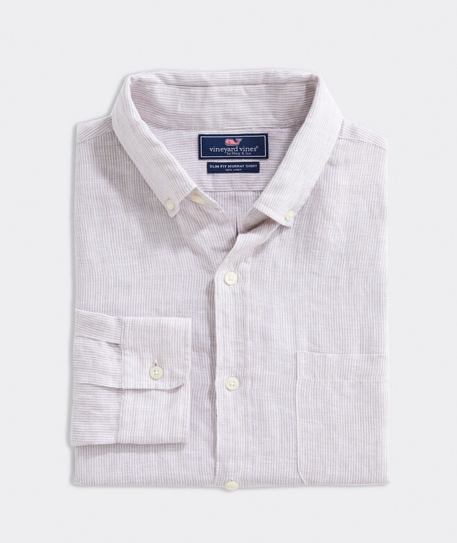 Slim Fit Stripe Shirt in Linen