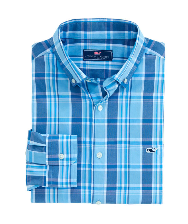 OUTLET Boys' Rowayton Plaid Whale Shirt