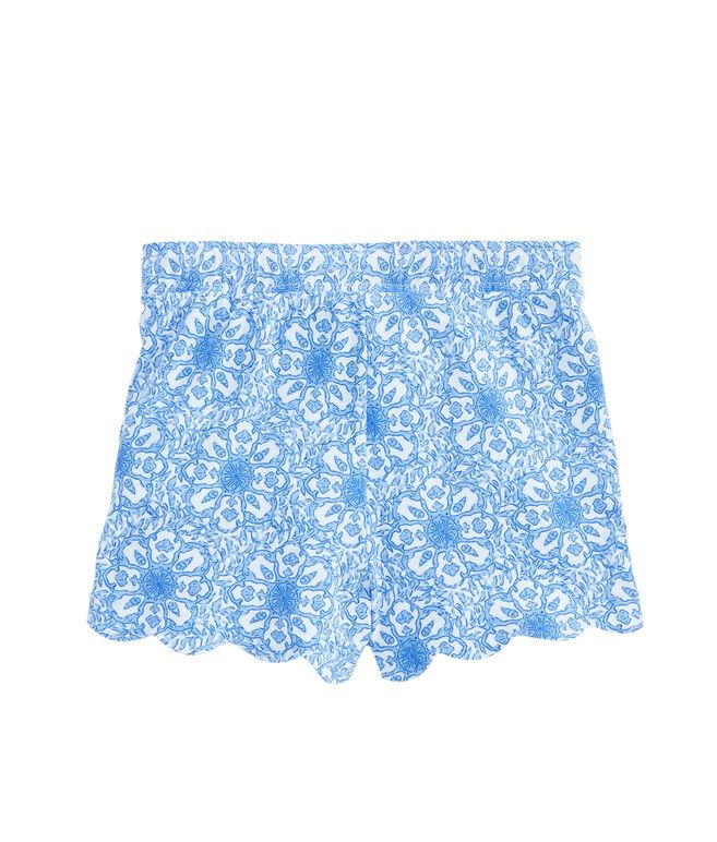 Girls Scallop Print Pull-On Shorts