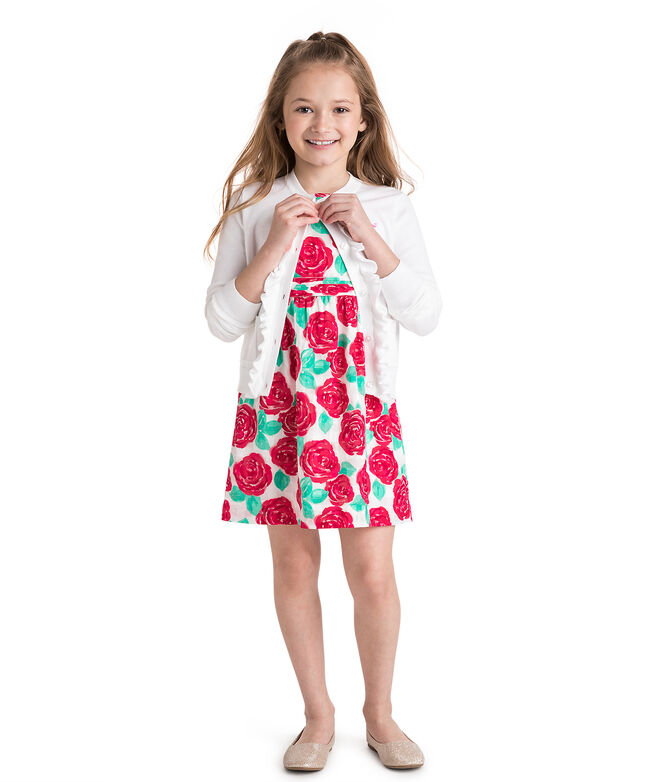 Girls Ruffle Placket Cotton Cardigan