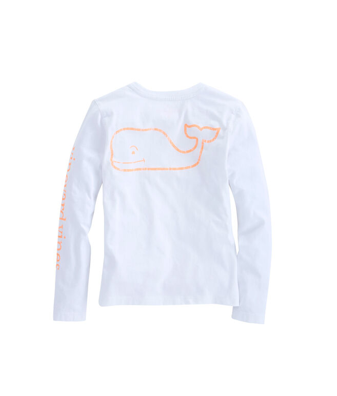 Girls Long-Sleeve White Cap Vintage Whale Pocket Tee